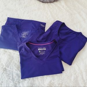 (3) purple scrub tops